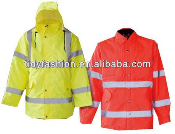 Waterproof Hooded High Visibility Fluorescent Long Raincoat